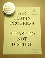 Air test in progress sign